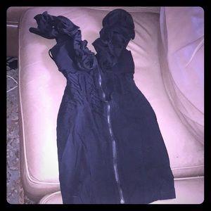 Sexy mini starchy little black dress